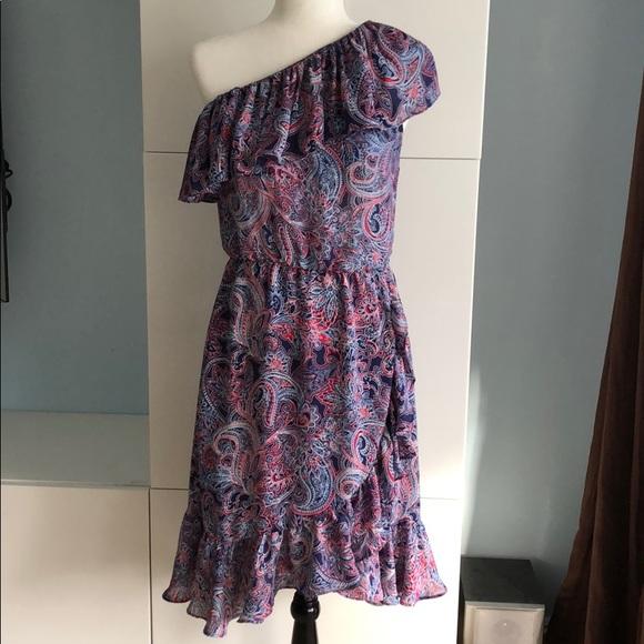 Parker Dresses One Shoulder Ruffle Dress Paisley Size Xs